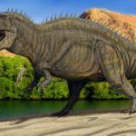 Acrocanthosaurus walking scaled